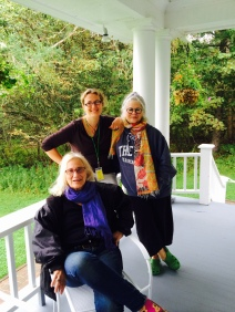 "Nina and two contributors to ""Dumped"" – Penny Guisinger and Judith Podell, on the porch of Prince Cottage, Campobello Island, IOTA Conference"